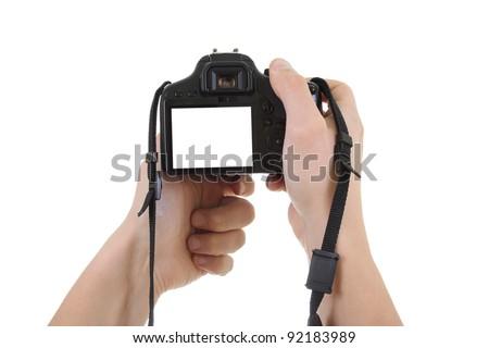 digital  camera in male hands. copyspace