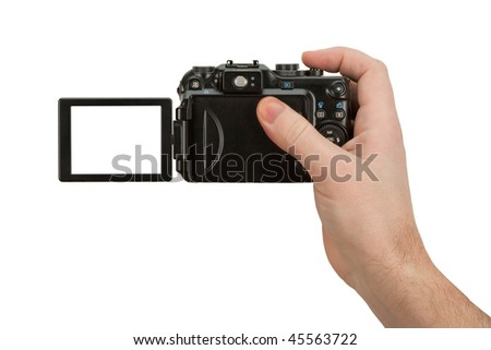 Digital Camera photo in a hand isolated on withe background