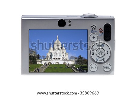Digital Camera with picture taken. Sacre Coeur, Paris, France.
