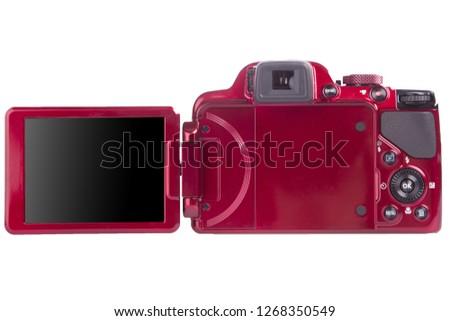 Digital camera with rotating screen, rear view
