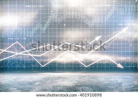 Digital chart with arrows and indicators, 3D Rendering