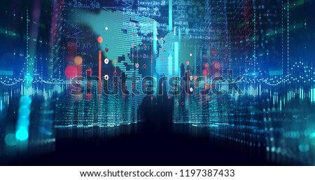 digital city scape with digit number elements illustration ,concept of smart city and digital transformation