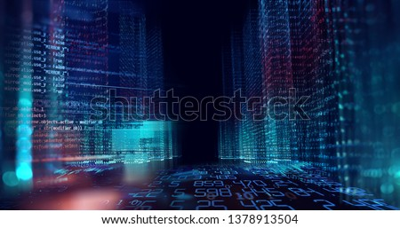 digital city scape with digit number elements illustration ,concept of smart city and digital 