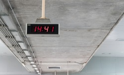 Digital clock in train station
