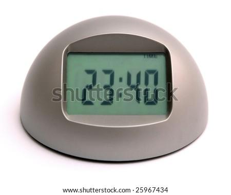 Digital clock isolated on white background.
