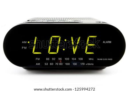 Digital Clock Radio displaying the word LOVE