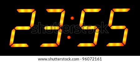Digital clock show five minutes to twelve. Isolated on the black background