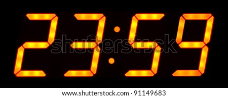 Digital clock show 23:59 on the black background