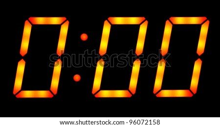 Digital clock show zero hours zero minutes. Isolated on the black background