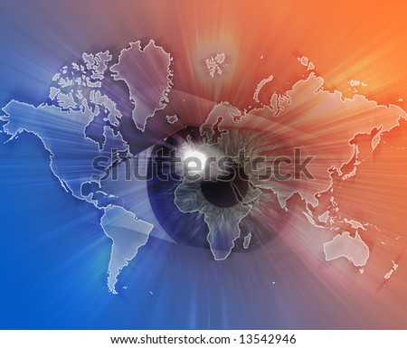 Digital collage of an eye over a map of the world orange blue - stock photo