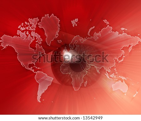 Digital collage of an eye over a map of the world red