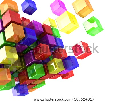 Digital colorful cubes with lights  isolated on a white background