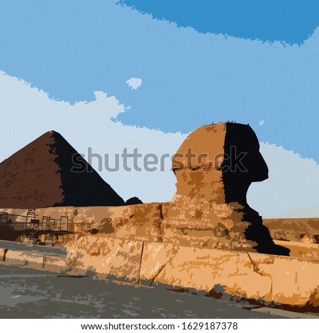 Digital Colorful Illustration Art Prints of Great Sphinx and the Pyramids Outside of Cairo on Canvas Background Painting in Giza, Egypt