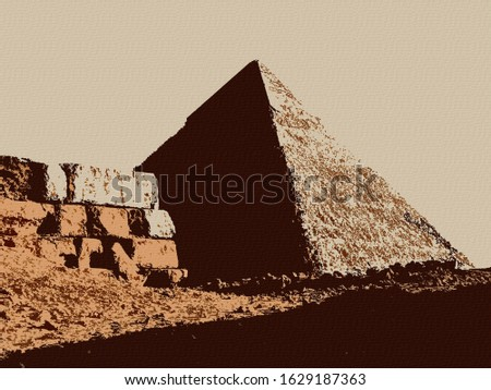 Digital Colorful Illustration Art Prints of Pyramids Outside of Cairo on Canvas Background Painting in Giza, Egypt