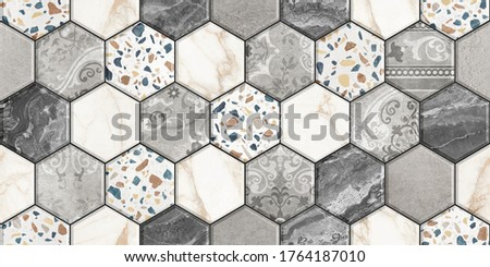 Digital colorful wall tile design for washroom and kitchen. Marble seamless background with geometric shapes, monogram floral ornament. Template for textile, apparel, card, invitation, wedding etc.