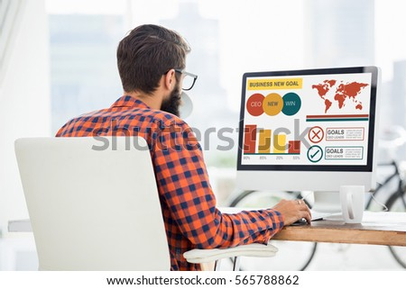 Digital composite image of business presentation with charts and text against hipster using a computer #565788862