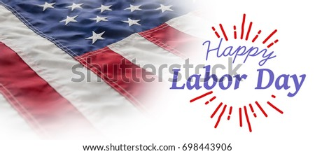 Digital composite image of happy labor day and god bless America text against full frame of wrinkled american flag #698443906
