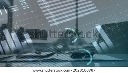 Digital composite image of statistical and financial data processing against empty office. finance and business concept