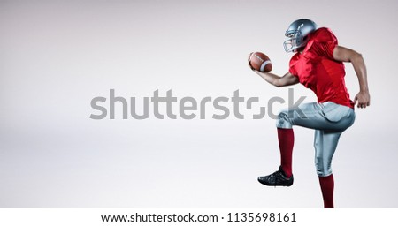 Digital composite of American football player with blank grey background