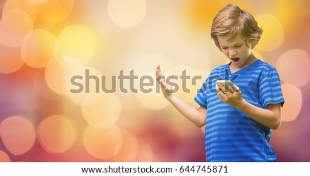 Digital composite of Angry boy with mouth open gesturing over blurred background #644745871