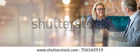 Digital composite of Business people having a meeting with blurry lights transition effect