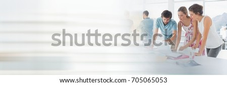 Photo of  Digital composite of Business people having a meeting with transition effect