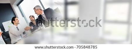 Photo of  Digital composite of Business people having a meeting with windows transition effect