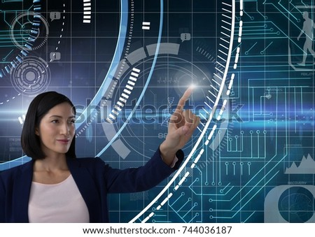 Digital composite of Businesswoman touching air in front of technology science interfaces #744036187