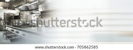 Digital composite of Chef's kitchen with motion blurred transition