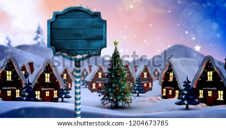 Digital composite of Christmas tree and wood sign in Winter snow town
