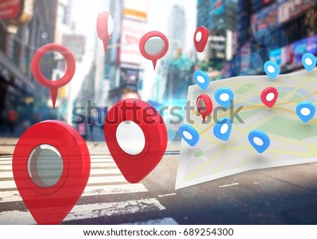 Digital composite of City with  marker location pointers and map #689254300