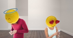 Digital composite of couple speaking at WhatsApp. Love. Emoji heads.
