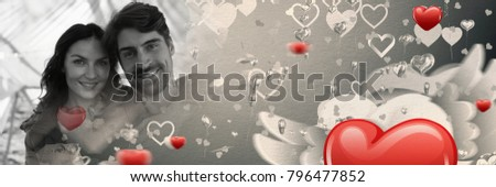 Digital composite of Couple with valentine's love transition hearts #796477852