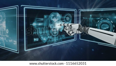 Digital composite of 3D robot hand interacting with medical interfaces against purple background with flares #1116652031