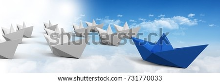 Digital composite of Group of Paper boats in sky #731770033