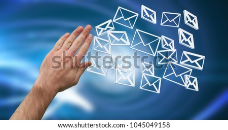 Digital composite of Hand touching 3D message email icons #1045049158