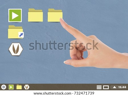 Digital composite of Hand touching Folder and files icons on Paper cut out desktop