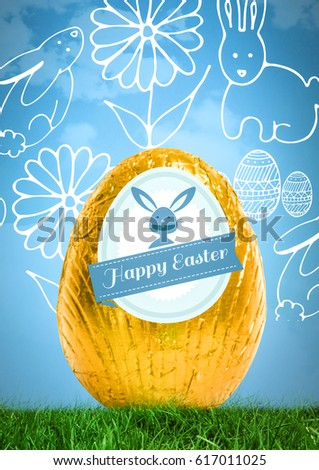 Digital composite of Happy Easter text with Easter egg in front of pattern #617011025