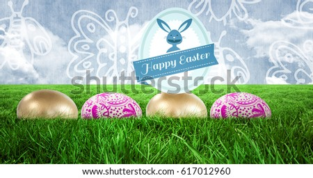 Digital composite of Happy Easter text with Easter eggs in front of pattern #617012960