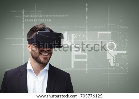 Digital composite of Happy man in VR headset looking at interface against green background with interfaces #705776125