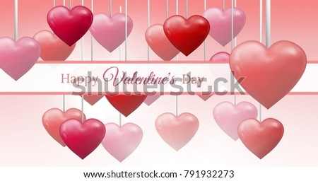 Digital composite of Happy Valentine's Day text and Bubbly Valentines hearts hanging on string with empty box #791932273