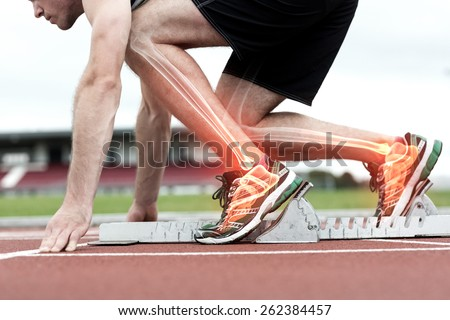 Digital composite of Highlighted bones of man about to race