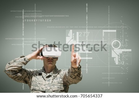 Digital composite of Military man in VR headset touching interface against green background with interfaces #705654337