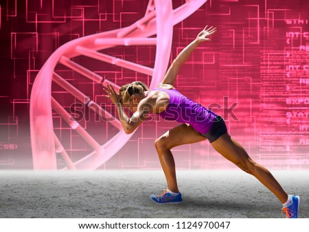 Digital composite of Runner with pink dna chain wall