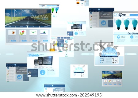 Digital composite of screen collage showing business advertisement