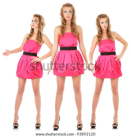 Digital composite of small group fashion models in pink mini dress posing like doll