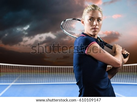 Digital composite of Tennis player on court with evening sky