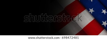 Digital composite of USA flag with black transition