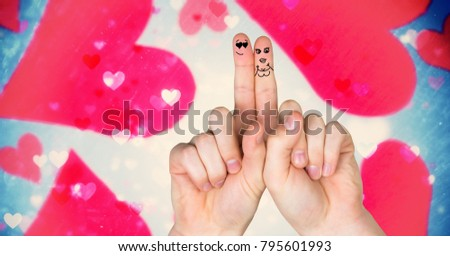 Digital composite of Valentine's fingers love couple and magical floating hearts #795601993