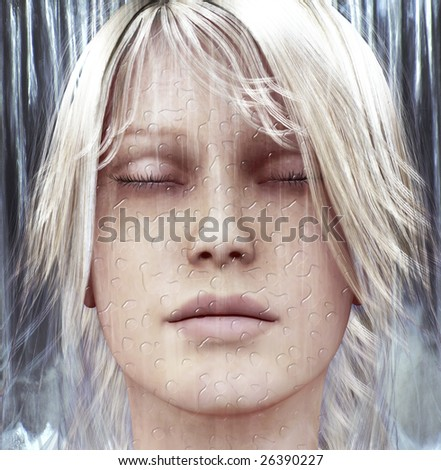 Digital composition of a female face with water drops